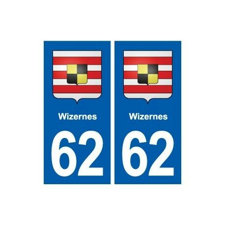 62 Wizernes blason autocollant plaque stickers ville arrondis
