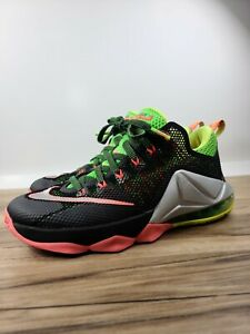 Nike LeBron 12 Remix Hot Lava Green Low 724557-003 Mens Sz 8 Basketball shoes