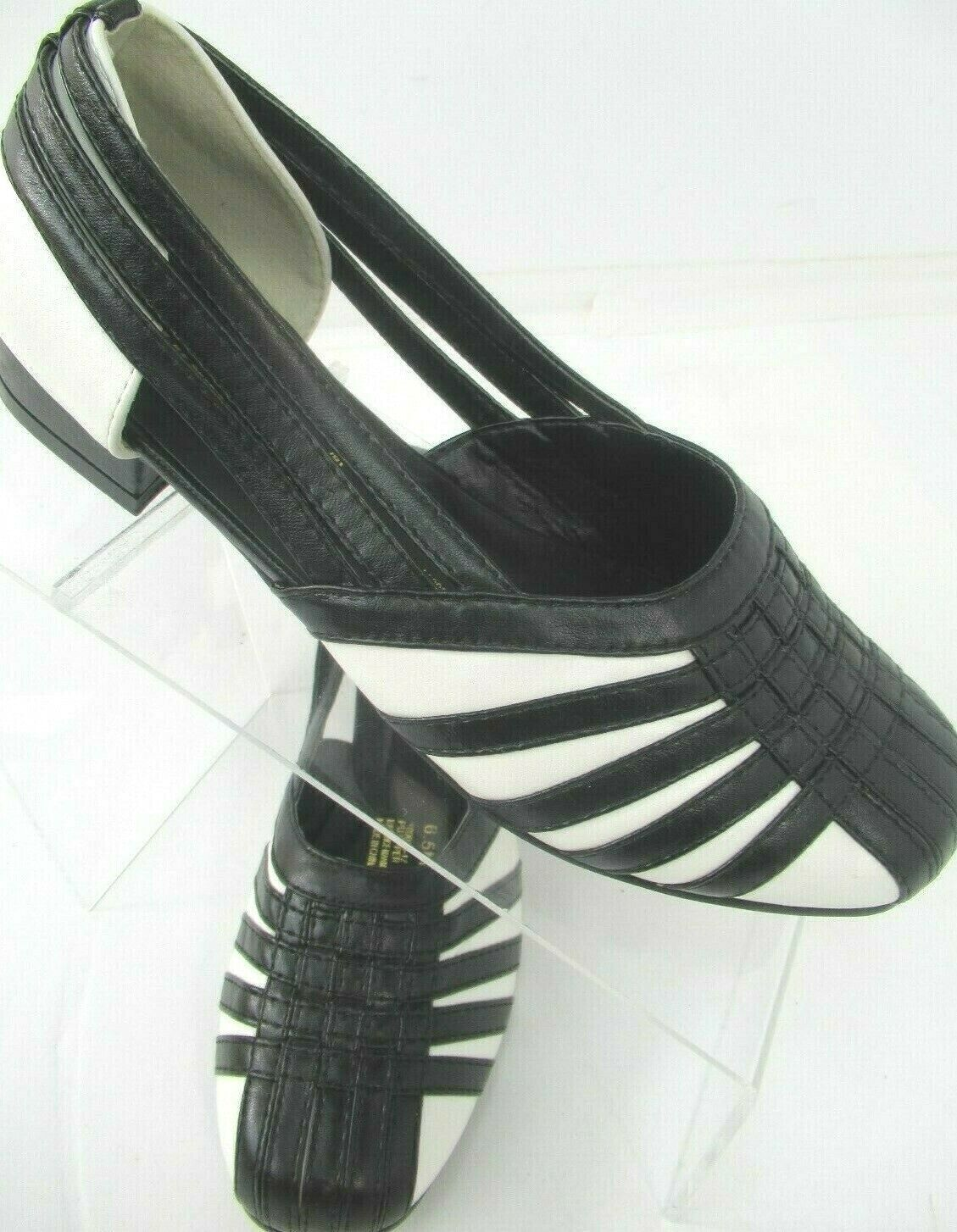 Sofwear Femme Slip On Simili cuir supérieur noir blanc pointure 6.5 M NEUF - 4602