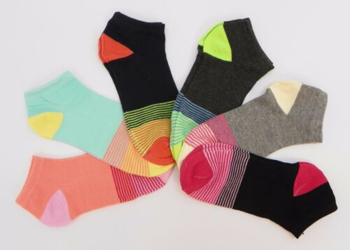 6 Pair Pack Womens Casual Fun Fashion Ankle Socks Striped Toe Size 9-11 KR200
