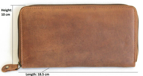Full Grain Cow Hide Hunter Leather 22052 RFID Security Lined Zip Around Purse