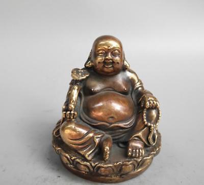 Chinese Buddhism Pure Copper Brass Bronze Maitreya Buddha Small Pendant