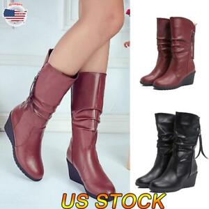 us women's platform wedge heel mid calf boots leather