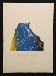 Jonas Hafner, gomiti CANE CON OCA, farbholzdruck, 1988/97, firmato a mano