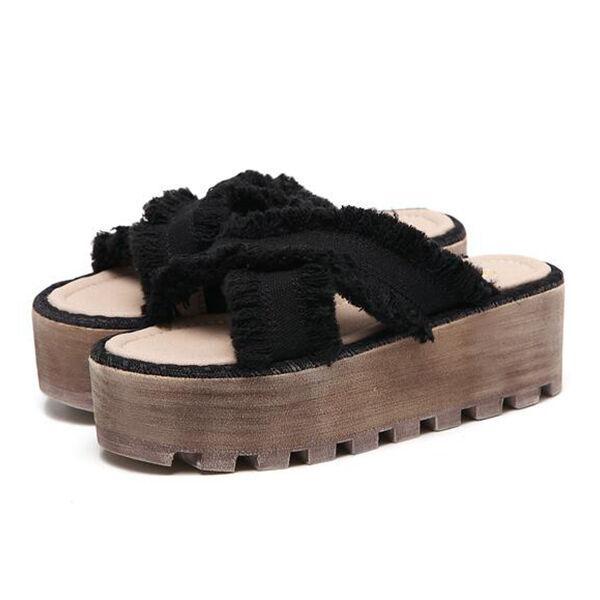 Sandales femmes chaussons noir corde sabot compensé 5 cm élégant et confortable