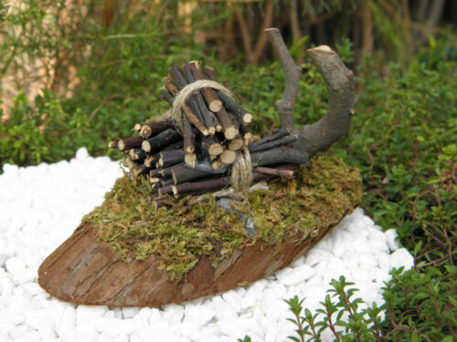 Miniature FAIRY GARDEN Accessories ~ Natural Wood Fire Pit with Light ~ NEW
