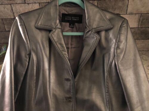 Ellen 8 foderato Medium Tracy Pewter Silver Leather Sz Blazer Coat Metallic Jacket arHqaFwp
