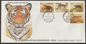 F137-MALAYSIA-1987-PROTECTED-WILDLIFE-WILD-CATS-FDC-ISC-CAT-RM-14