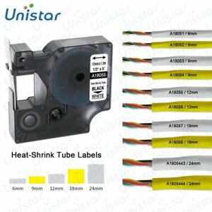 Heat Shrink Tube Wire Cable Label Tape 6//9//12//19//24mm for DYMO Rhino Industrial