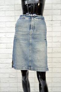 Gonna-in-Jeans-DIESEL-Taglia-Size-30-Skirt-Woman-Cotone-Minigonna-Vita-Alta-Blu