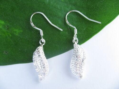 925 Sterling Silver Wave Drop Leaf Clear Stone Earrings Jewellery Gifts Present