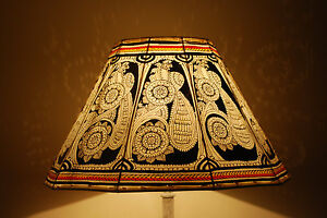 Lampada Vintage Da Terra : Vintage style floor lampshade hand painted leather lamp shade