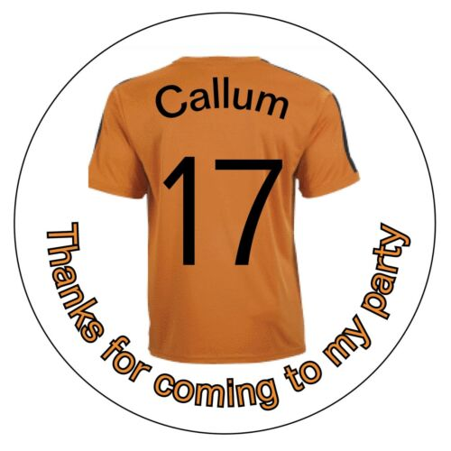 Personalised Orange Wolves Football Shirt Birthday Thank You Stickers Gold 1171