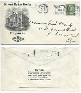 Advertising-Cover-MOUNT-ROYAL-HOTEL-Montreal-Quebec-with-slogan-Circa-1929