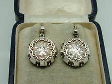 Pair of Antique Victorian Aesthetic Silver Engraved Leaf/Flower Motif Earrings