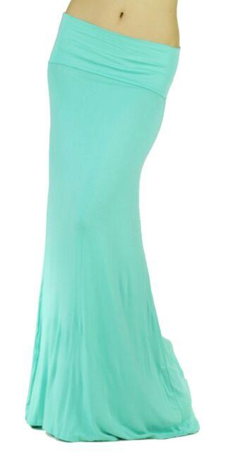 New Mint Women Solid Fold Over Waist Soft Rayon Long Maxi Skirt Reg Plus USA
