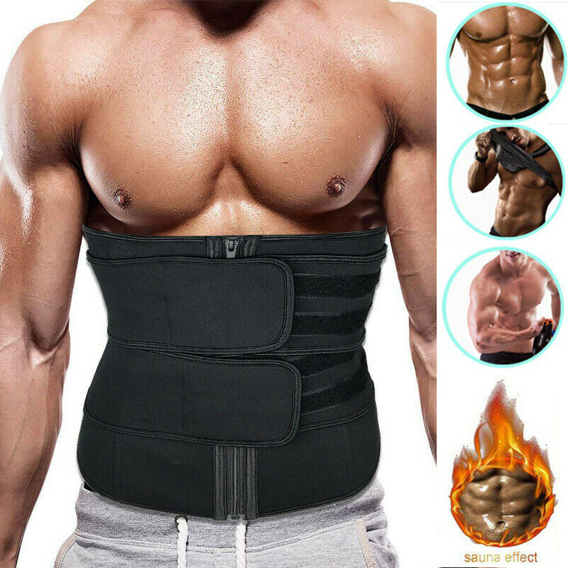 Compression Sweat Waist Trimmer Belt AB Trainer Band Stomach Fat Burner