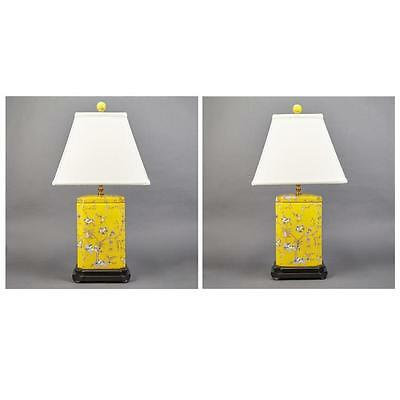 Pair of Chinese Style Yellow Ground Porcelain Lamps Lot 223