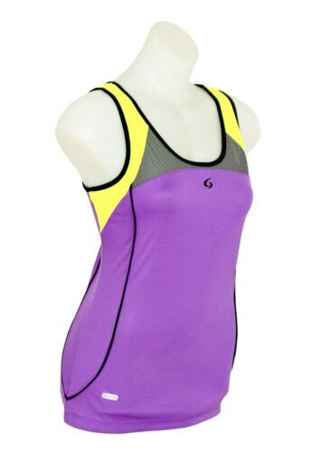 Yellow with Contrast Trim Womens Sport Gym Tank Top Purple