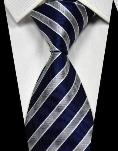 New Classic Striped Dark Blue Silver 100/% Silk Men/'s Necktie Neck Tie 3.15/'/' 8CM