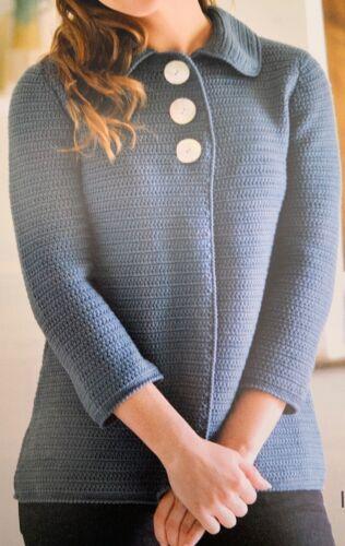 "Ladies Jacket Cardigan Crochet Pattern 32-42/"".DK  YE670"