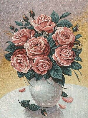 WALL JACQUARD WOVEN TAPESTRY Pink Roses in Vase EUROPEAN FLORAL DECOR PICTURE