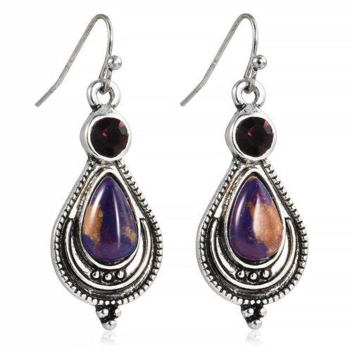 Fashion Turquoise Bohemian Style 925 Silver Woman Jewelry Dangle Drop Earrings