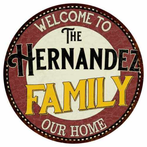 A Família Hernandez sinal Metal Redondo Jogo De Cozinha Quarto Decoração 100140038016