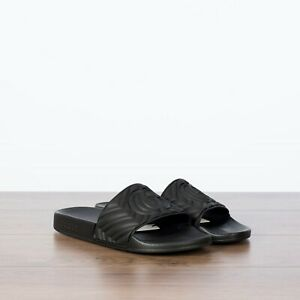 GUCCI-290-NEW-Black-Men-039-s-Matelasse-Rubber-Slide-Sandals-With-Double-G