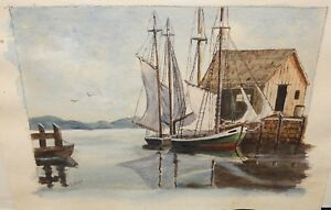 D-KUFEL-ORIGINAL-WATERCOLOR-SAIL-BOATS-ON-A-DOCK-PAINTING