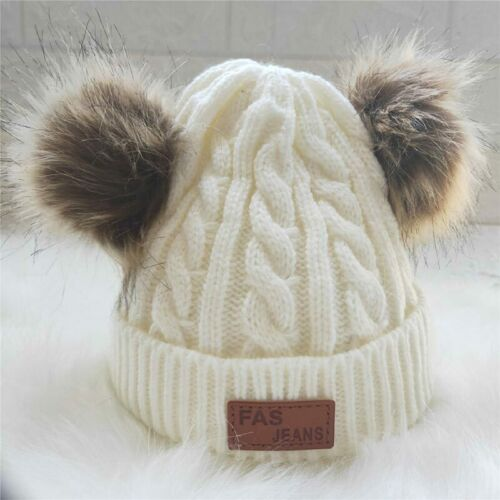 Kids Children 2 Pom Pom Knitted Beanie Hat Warm Hats Cap Winter For Girls Boys