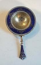 "DAVID ANDERSEN NORWAY GILT STERLING SILVER & ENAMEL 4.5"" TEA STRAINER, 45 grams"