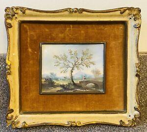 Vintage Small Mini Landscape Hunting Oil Painting Italy Signed Velvet Framed