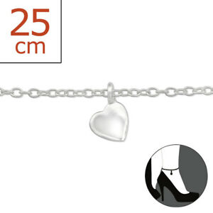Lovely Tjs 925 Sterling Silver Anklet Solid Love Heart 22cm Expandable 25cm Cute Design Fashion Jewelry Jewelry & Watches