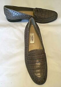 Talbots-Women-039-s-Shoes-Taupe-Croc-Leather-Loafers-Made-in-Italy-1-034-Heel-Size-8-5N