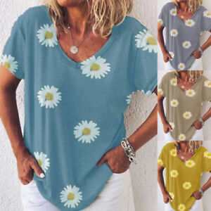 Womens-Casual-Daisy-Loose-T-Shirt-Tee-Blouse-Ladies-Pullover-Holiday-Summer-Tops