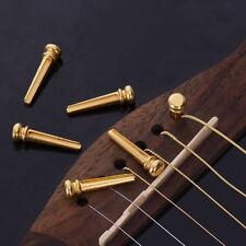 6Pcs Round Head Gold Brass Acoustic Guitar Bridge Pins End Pin Parts For Guitar