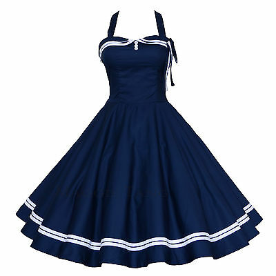 Maggie Tang 50s VTG Pinup Nautical Sailor Rockabilly Swing Party Dress R-515
