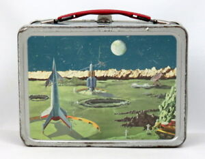 1958-OUTER-SPACE-Thermos-LUNCH-BOX-Rocket-Moon-Satellite-Station-XLNT-VINTAGE
