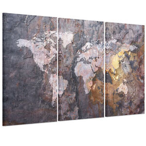 Ready to hang canvas print wall art painting vintage rock world map ready to hang canvas print wall art painting gumiabroncs Image collections