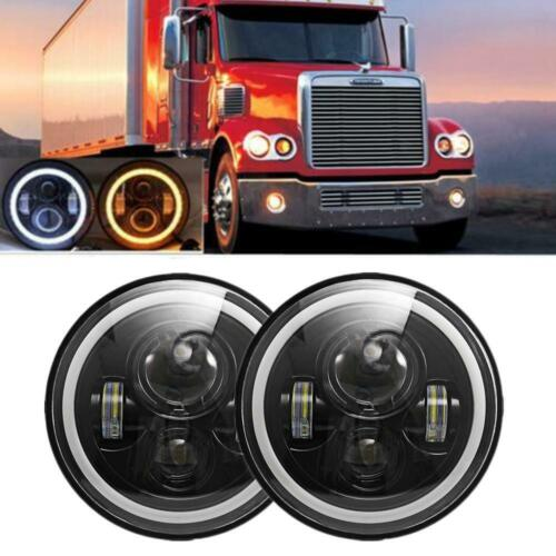 4x 7/'/' inch Round Headlight Hi-Lo Sealed Beam DRL Ring For Freightliner Century