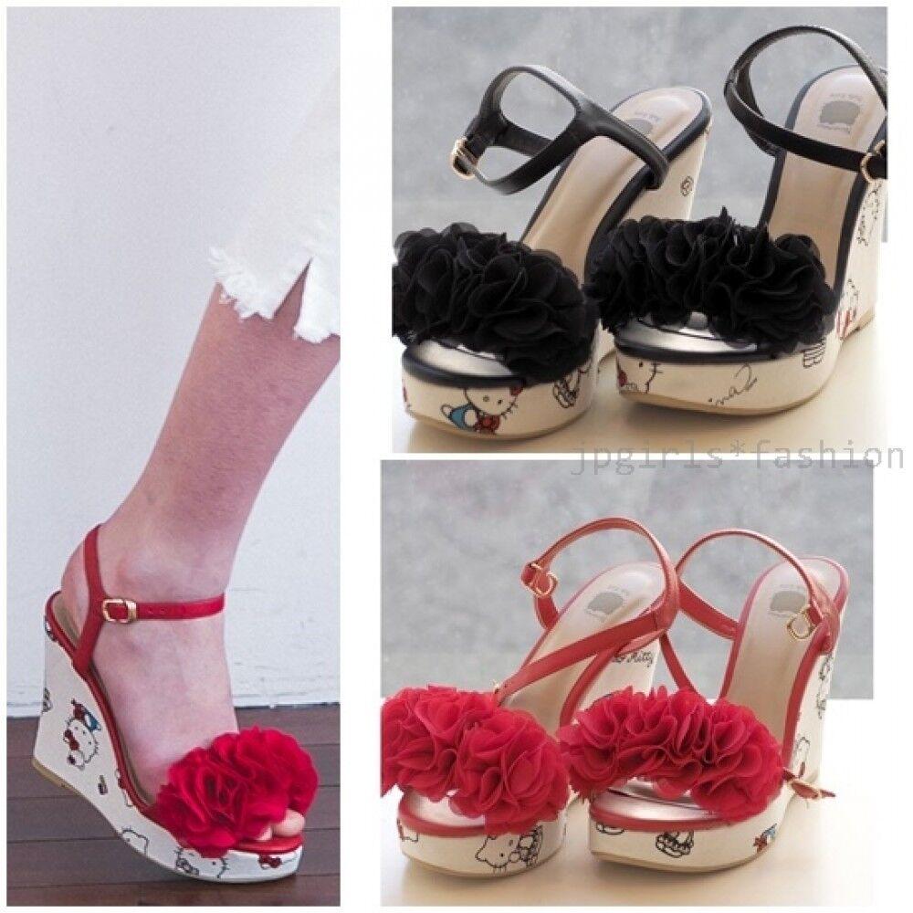 articoli promozionali Nina mew Hello Hello Hello Kitty scarpe Sandals Wedge Soles donna High Heels cx141 Frill  prendi l'ultimo