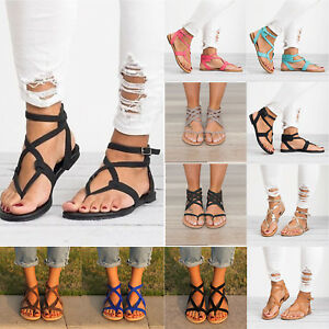 Womens-Gladiator-Flat-Heel-Sandals-Cross-Strap-Ankle-Ladies-Roman-Summer-Shoe-AU