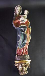 Conrad-Moroder-Groeden-Madonna-auf-Konsole-Holz-geschnitzt-amp-farbig-gefasst