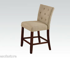 Modern Counter Height Dining Chairs In Cream Linen & Walnut Finish Legs in 2 Pcs