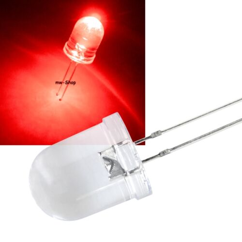 100 ROTE Leds 10mm 8000 mcd inkl Widerstände /& Schrumpfschlauch Led rot red