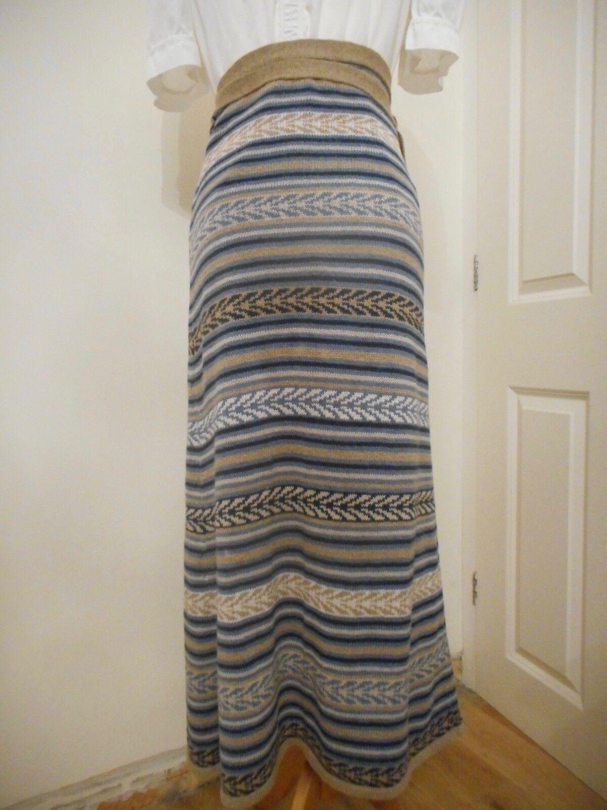 Nicole Farhi Net A Porter bluee Brown Stripe Linen Cotton Wrap Skirt UK Small
