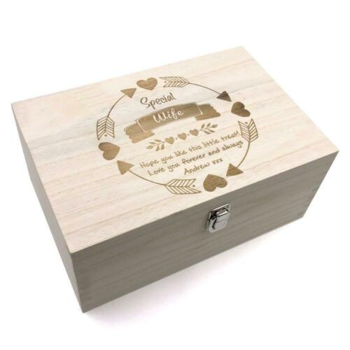 Special Wife Gift Personalised Large wooden Keepsake Box Gift HB-76