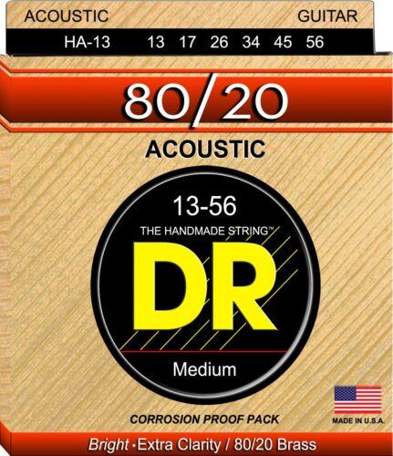 DR HA-13 Hi-Beam 80//20 Acoustic Guitar Strings medium hvy gauges 13-56