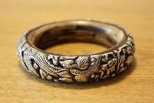 Nepalese Tibetan Style Sterling Silver Dragon Water Buffalo Bone Bangle Bracelet
